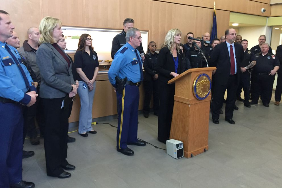Alaska's new head of the Department of Public Safety Amanda Price speaks at a press conference, Dec. 5, 2018 at the State Crime Lab in Anchorage. Gov. Dunleavy named his public safety cabinet at the press conference. (Alex DeMarban / ADN)