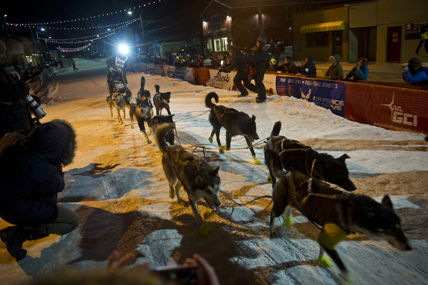 Iditarod musher Brent Sass arrived in Nome in 20th place in the 2016 Iditarod on March 15, 2016, in Nome