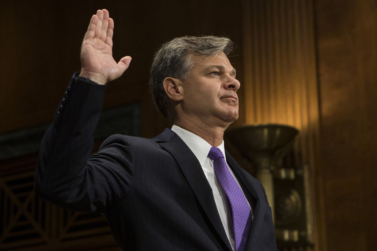 Christopher Wray is sworn in by the Senate Judiciary Committee prior to his confirmation hearing to be FBI Director Wednesday, July 12, 2017 on Capitol Hill in Washington, D.C. (Alex Edelman/Zuma Press/TNS)