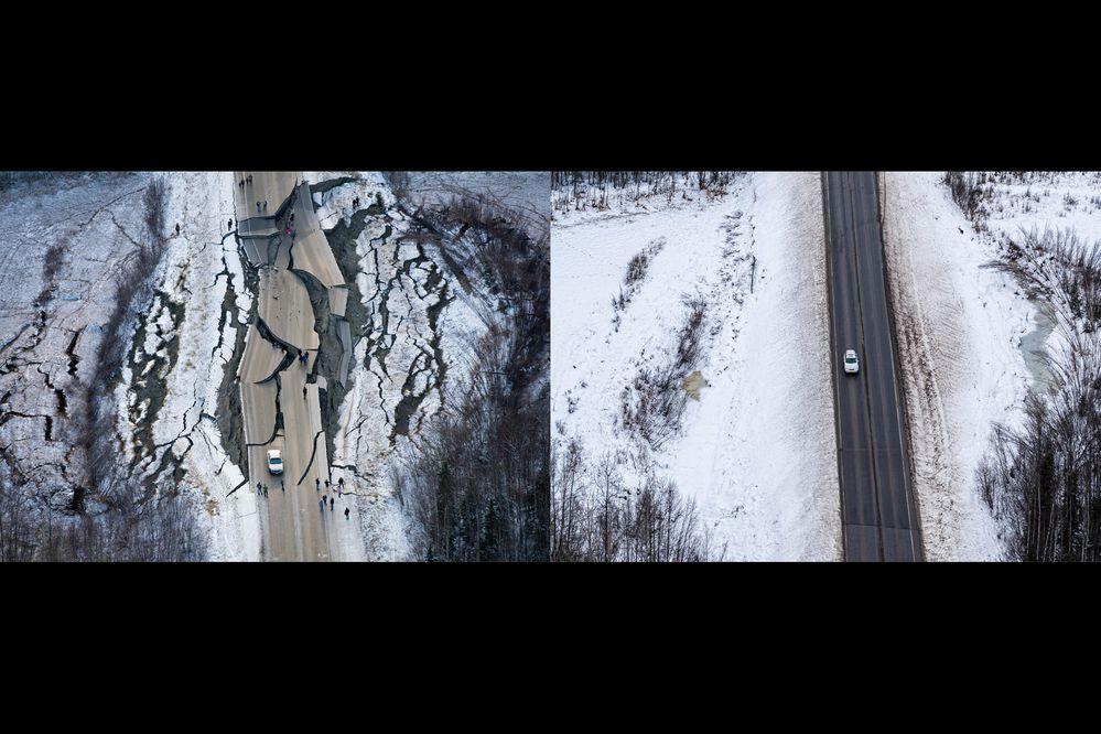Vine Road, Nov. 30, 2018 and Nov 11, 2019. (Marc Lester (left) and Loren Holmes (right) / ADN)