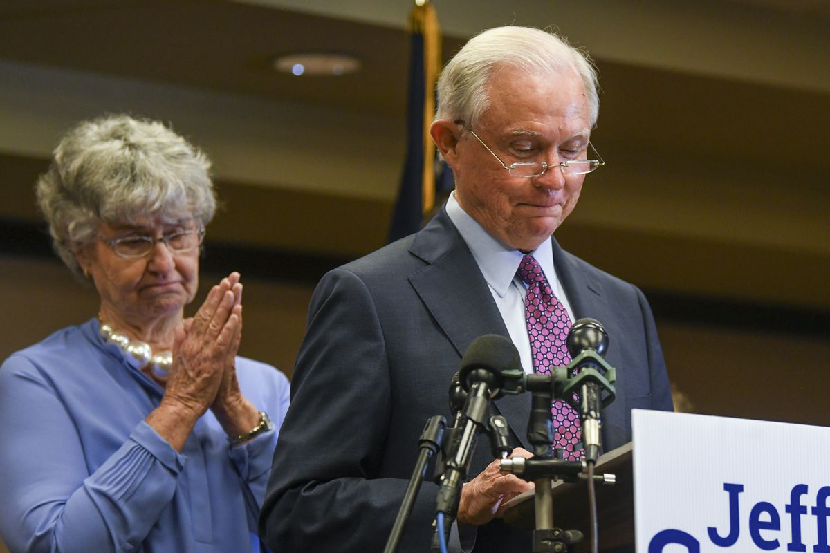 Former U.S. Attorney General Jeff Sessions delivers his concession speech next to his wife, Mary, Tuesday, July 14, 2020, in Mobile, Ala. Sessions lost the Republican nomination for his old Senate seat to former college football coach Tommy Tuberville. (AP Photo/Julie Bennett)