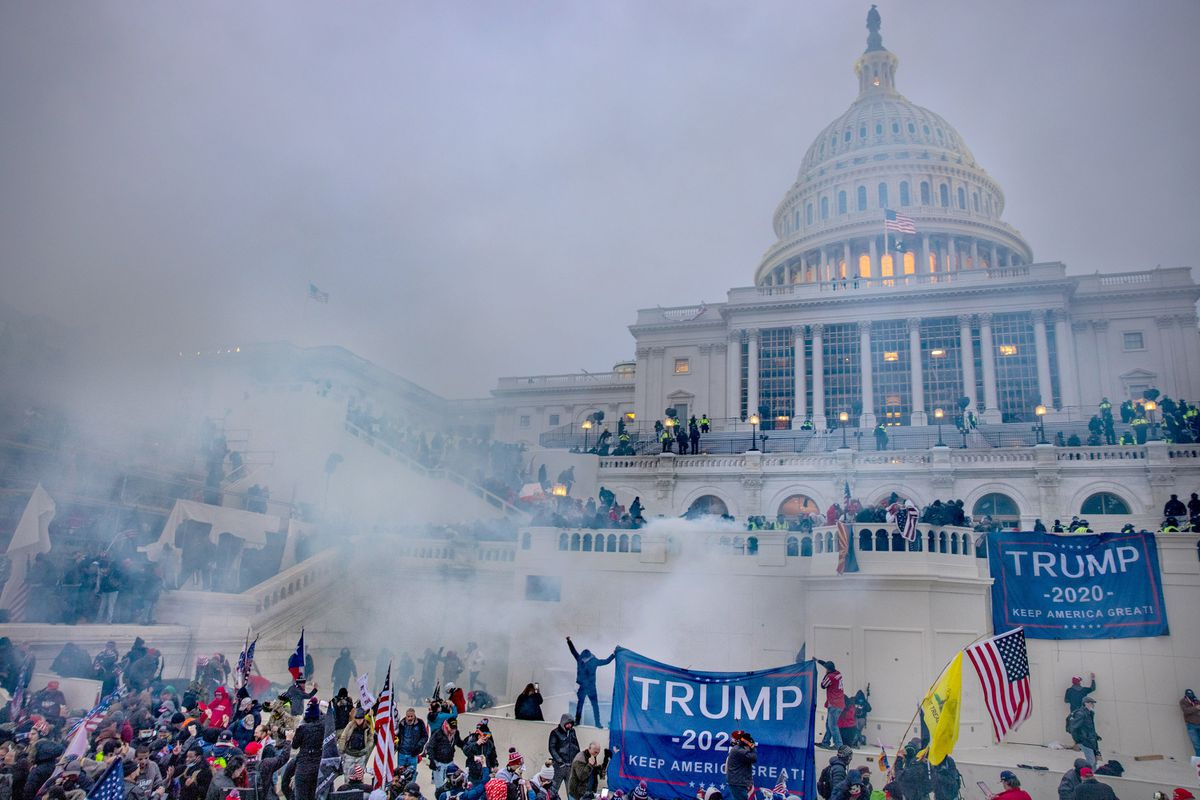 Tear gas engulfs the crowd in front of the Capitol. (Photo for The Washington Post by Evelyn Hockstein)
