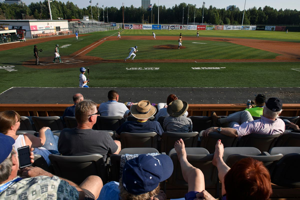 Fans watch a game between the Anchorage Glacier Pilots and Mat-Su Miners last summer at Mulcahy Stadium in Anchorage. (Marc Lester / ADN archive 2019)