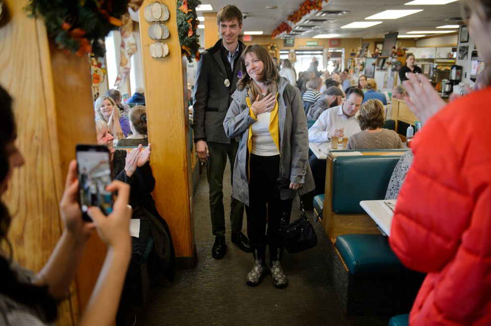 Congressional candidate Alyse Galvin greets supporters and others at lunchtime on Election Day in Anchorage on November 6, 2018. (Marc Lester / ADN)