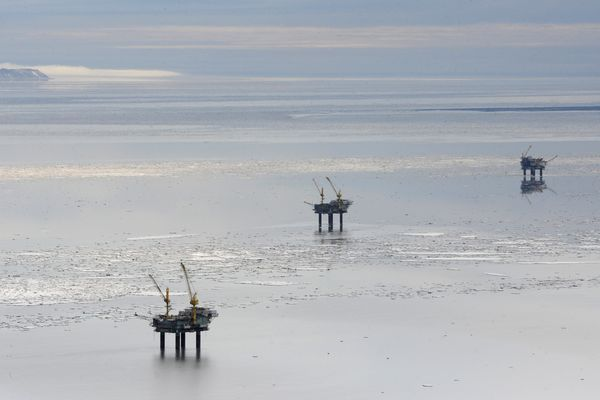 Platforms on west side of Cook Inlet, from left, Bruce, Anna, and Granite Point on Sunday, April 2, 2017. A sheen of oil was discovered at about 11:20 a.m. Saturday by workers on Hilcorp's Anna platform about 45 miles southwest of Anchorage near the village of Tyonek. (Bill Roth / Alaska Dispatch News)