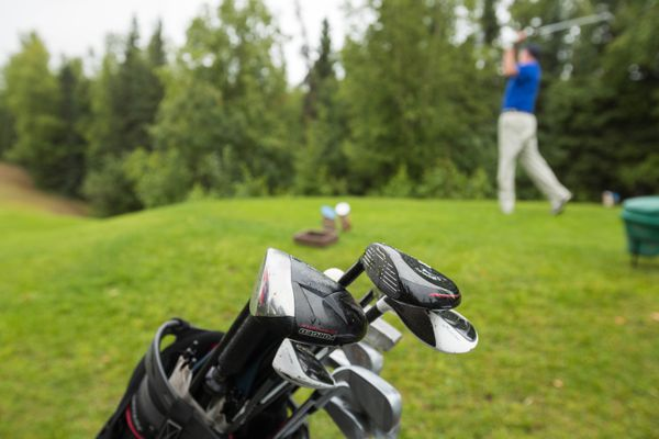 Daniel Andrews tees off at the Anchorage Golf Course on Thursday, Aug. 2, 2018 during the first day of the state amateur golf tournament. (Loren Holmes / ADN)