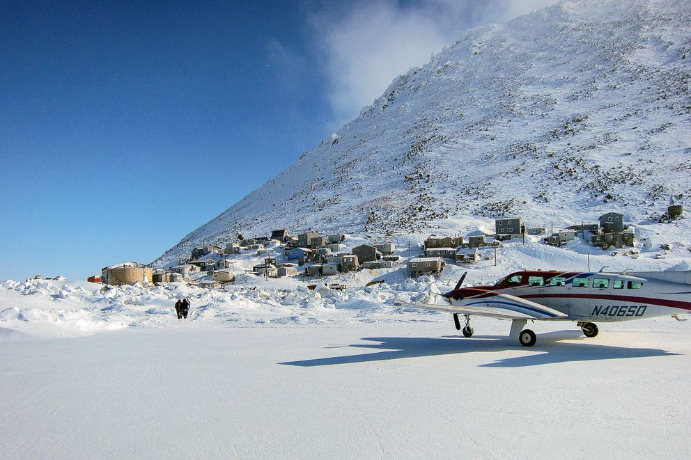 The community of Diomede from the runway. (Photo by Matty Guiffre, KNOM file)