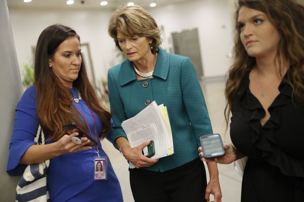 Sen. Lisa Murkowski, R-Alaska, waits to board the Senate subway car as she heads to her office after listening to Sen. Susan Collins, R-Maine, declare she would vote to confirm Brett Kavanaugh's Supreme Court nomination, on Capitol Hill, Friday, Oct. 4, 2018. (AP Photo/Pablo Martinez Monsivais)