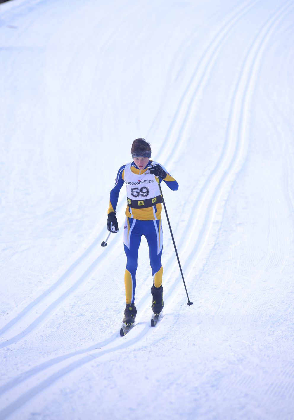Evan Sosinski competes in the boys 5-kilometer classic race Sunday on the Lookout Mountain ski trails in Homer. (Photo by Eric Engman)
