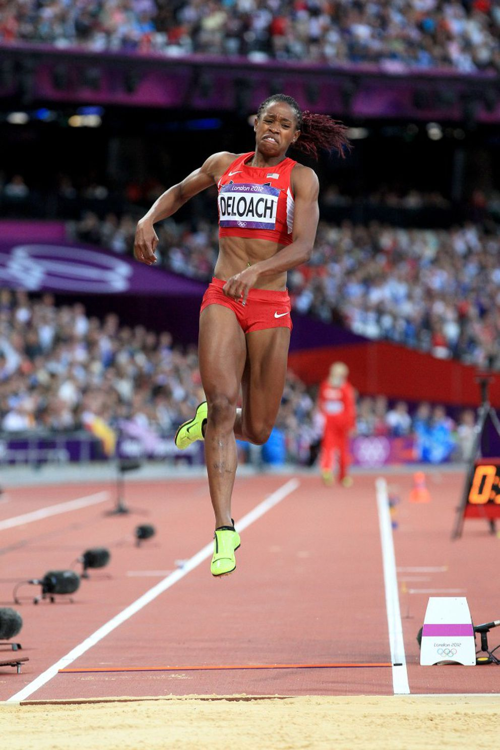 Janay DeLoach competes at the 2012 Olympics in London. DeLoach claimed a bronze medal on her sport's brightest stage.(Victah Sailer / Photorun.net)