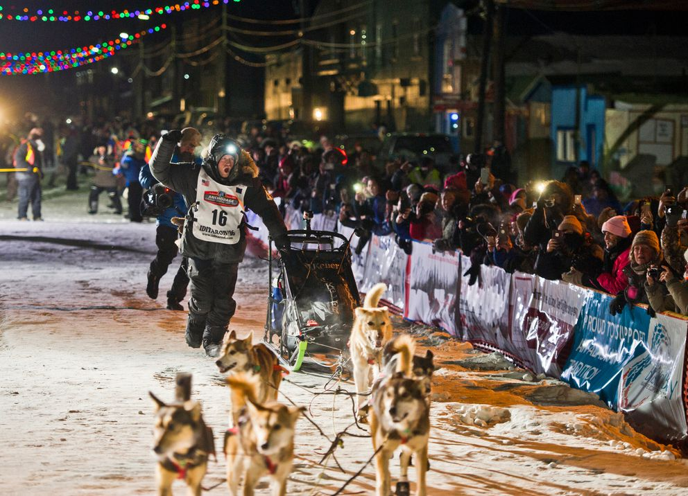 Dallas Seavey arrived in Nome to an enthusiastic crowd as he claimed his fourth Iditarod championship in five years on March 15, 2016. (Marc Lester / ADN archive)