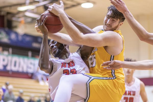Seawolves David Riley looks to get possession of the ball during the game against NNU, March 5, 2020. (Photo by Matt Brashears)
