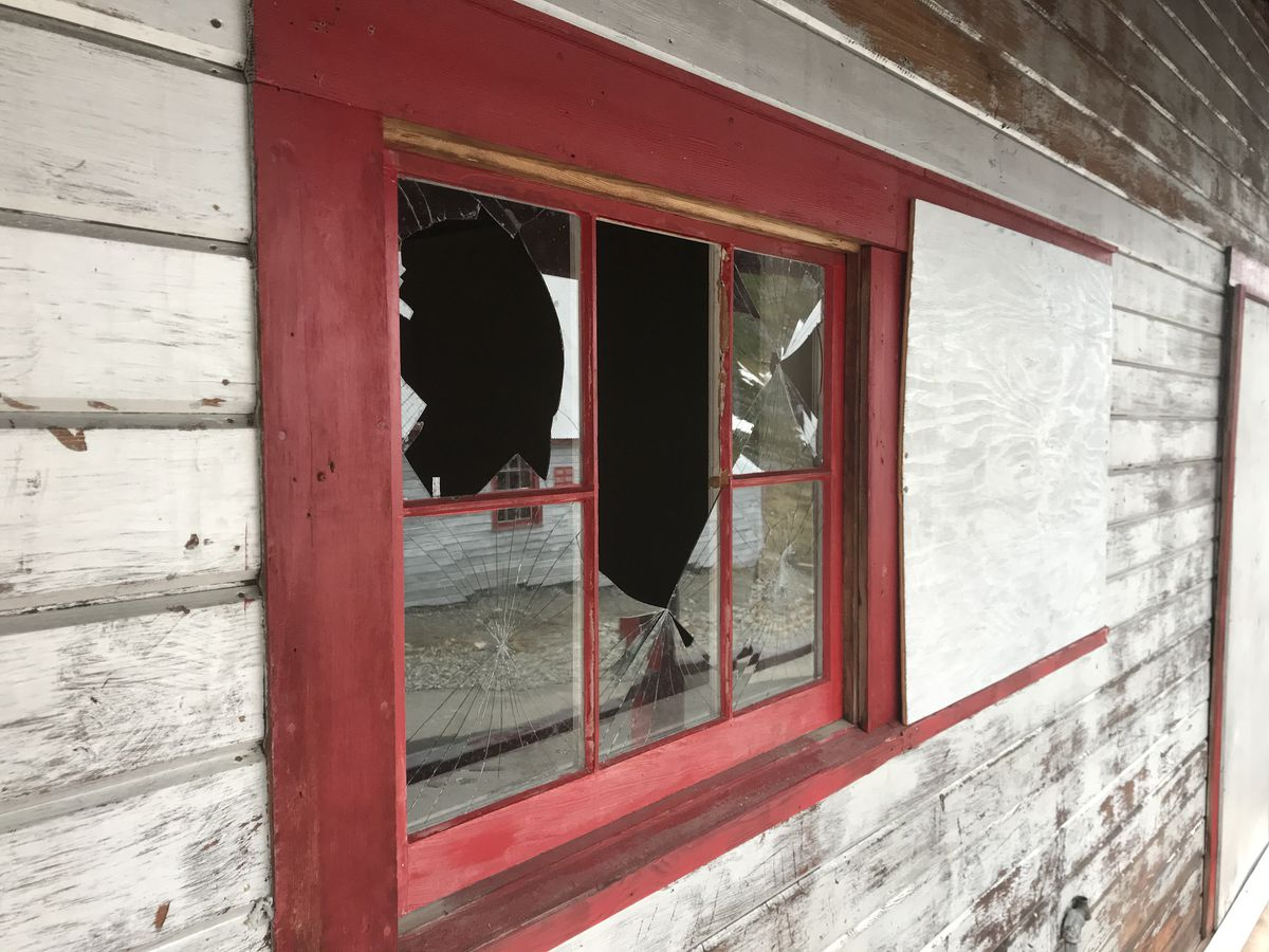 Vandals broke windows, window frames and discharged fire extinguishers and damaged several buildings at Independence Mine State Historical Park June 15 or 16, 2021. (Photo provided by Alaska State Parks)