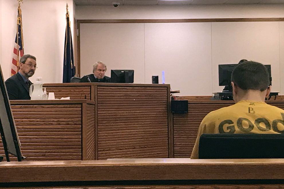 Palmer District Attorney Roman Kalytiak, took the stand in Palmer court Thursday during a hearing for Austin Barrett (right), accused of killing 16-year-old David Grunwald in 2016. Kalytiak was called by Barrett's attorney over claims investigators violated his right to remain silent. (Zaz Hollander / ADN)