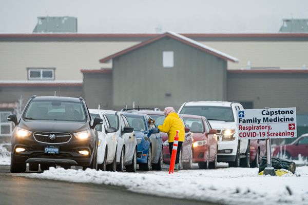 Vehicles wait in line at a Capstone Clinic COVID-19 testing site on Thursday, Oct. 29, 2020 in Wasilla. (Loren Holmes / ADN)