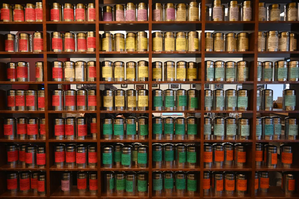 A selection of loose leaf teas at Summit Spice and Tea Company. Holiday drinks 2019. Photographed Nov. 22, 2019. (Anne Raup / ADN)