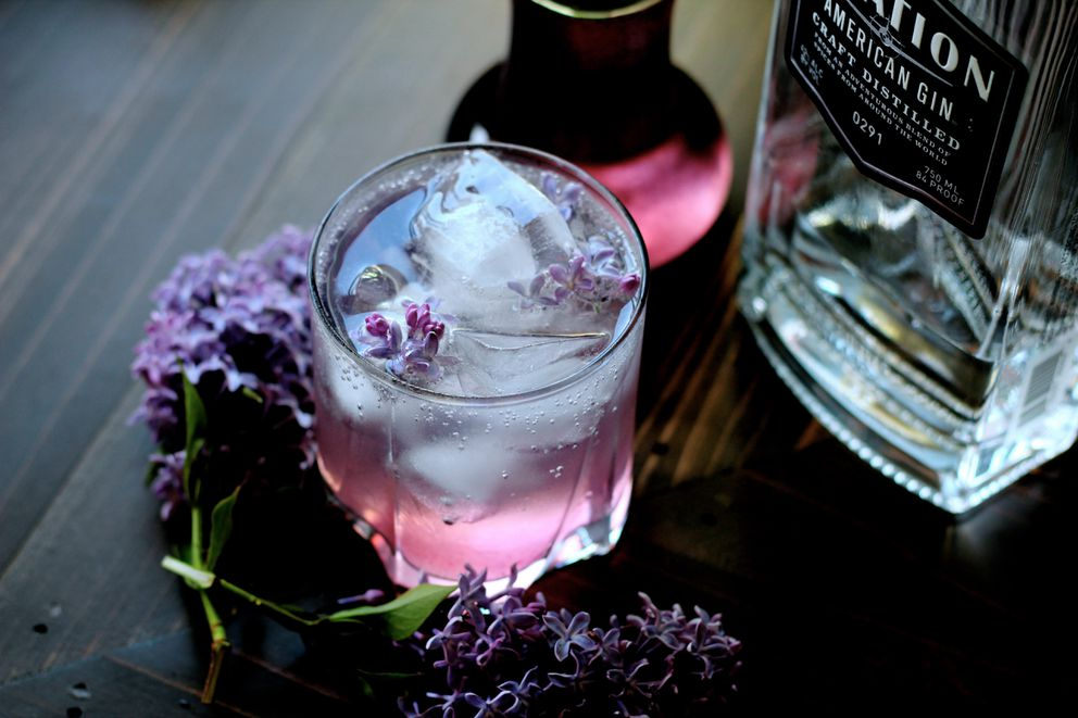 Lilac gin and tonic (Maya Wilson / Alaska from Scratch)