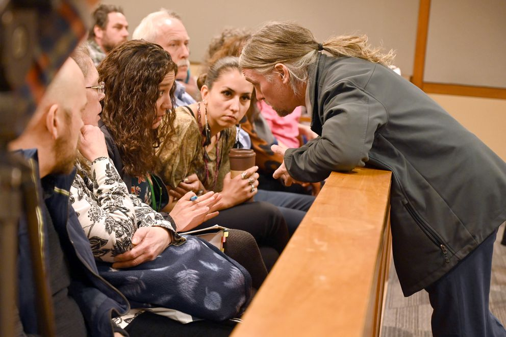 Prosecutor Jay Fayette speaks to a group in the courtroom audience during Kris Kile's arraignement, Wednesday, March 11, 2020. (Anne Raup / ADN)