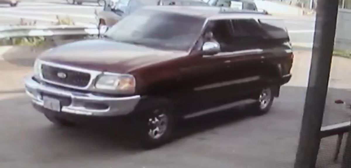 A 1998 Maroon Ford Expedition, Alaska license plate JFD440, wanted by APD. (Anchorage Police Department)