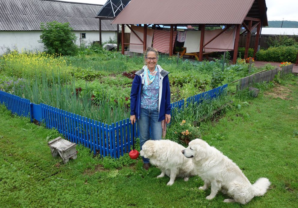 Former Alaskan Martha Madsen stands with her dogs by her garden outside her guest house in Petropavlovsk-Kamchatsky. (Scott McMurren)