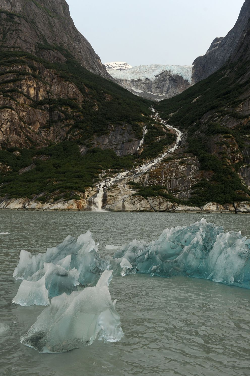 Icebergs float in front of a waterfall and hanging glacier at the head of Endicott Arm in the Tongass National Forest. (Bob Hallinen / ADN)
