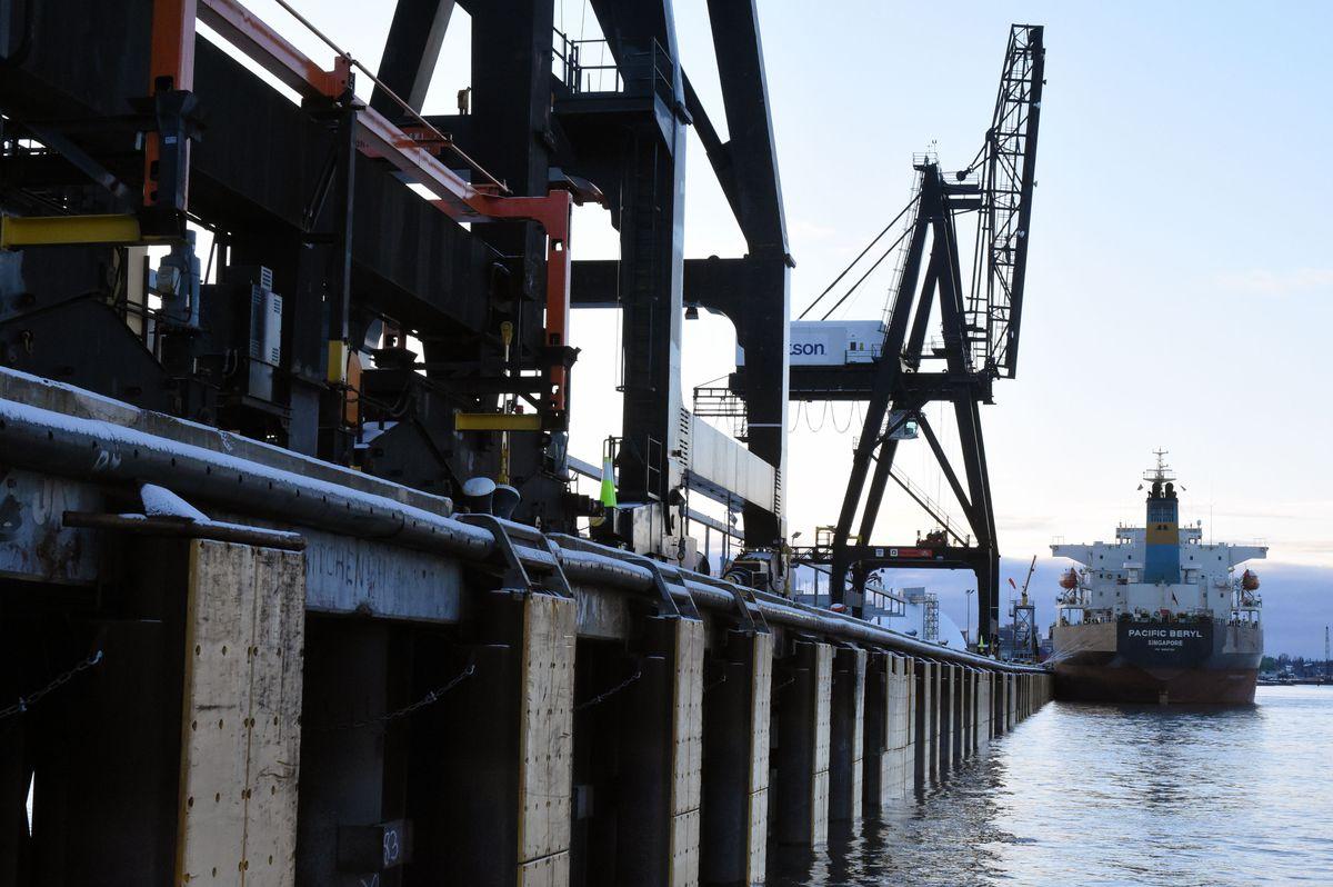 The dock, cranes and tanker after the earthquake at the Port of Alaska, Nov. 30, 2018. The port suffered minor damage. (Jim Jager / Port of Alaska)