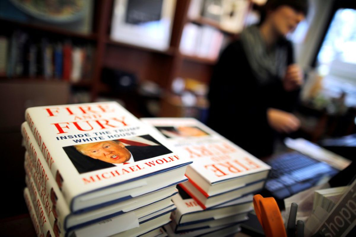 "Copies of the book ""Fire and Fury: Inside the Trump White House"" by author Michael Wolff are seen at a local book store in Washington, DC, U.S. January 5, 2018. REUTERS/Carlos Barria"