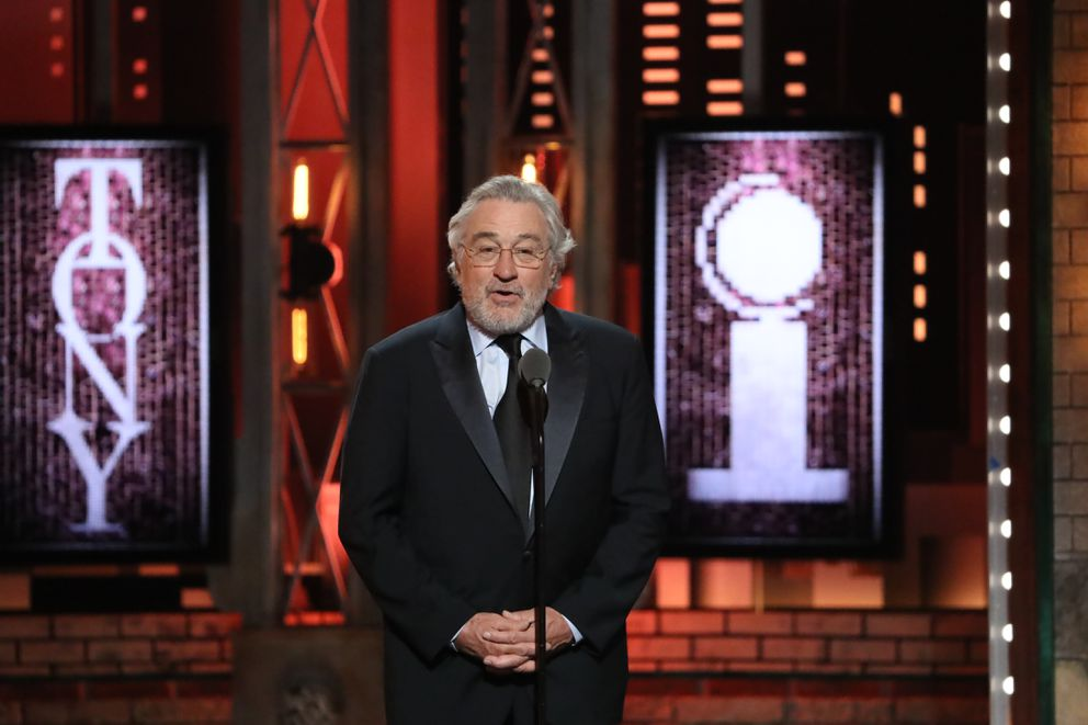 Robert De Niro introduces a performance by Bruce Springsteen at the 72nd Annual Tony Awards at Radio City Music Hall in New York, June 10, 2018. (Sara Krulwich/The New York Times)