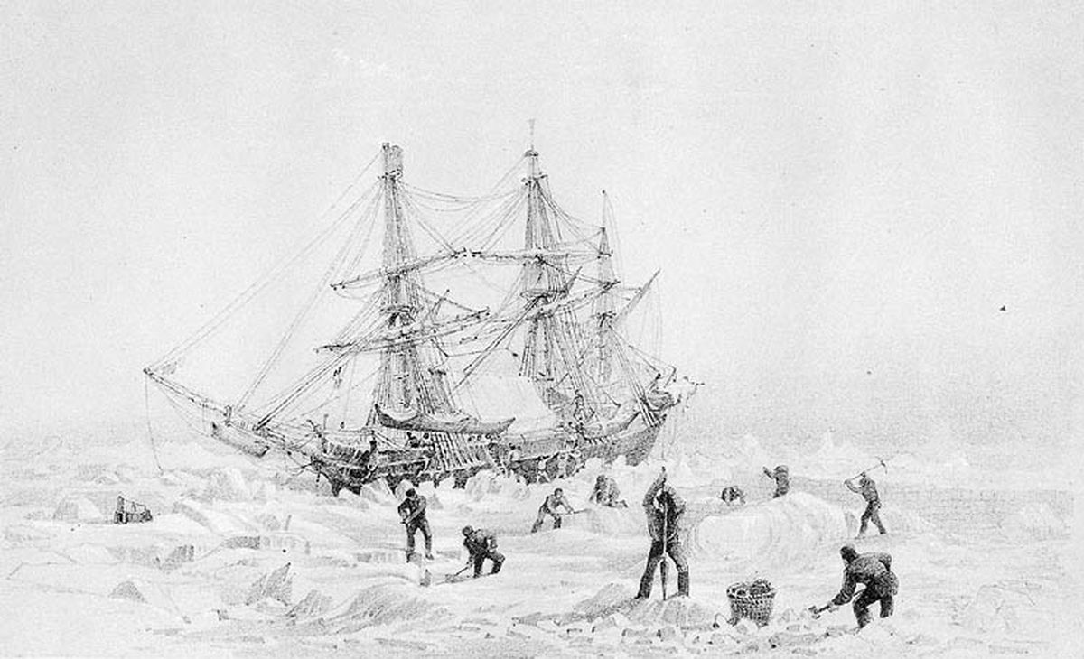 The HMS Terror thrown up by ice in the Arctic. (National Archives of Canada via Wikimedia)