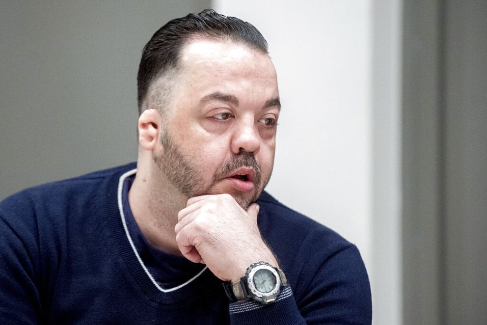 Former nurse Niels Hoegel sits in the court room during a session of the district court in Oldenburg, Germany, Thursday, June 6, 2019. Niels Hoegel has been convicted of 85 counts of murder and sentenced to life in prison. (Hauke-Christian Dittrich/dpa via AP)