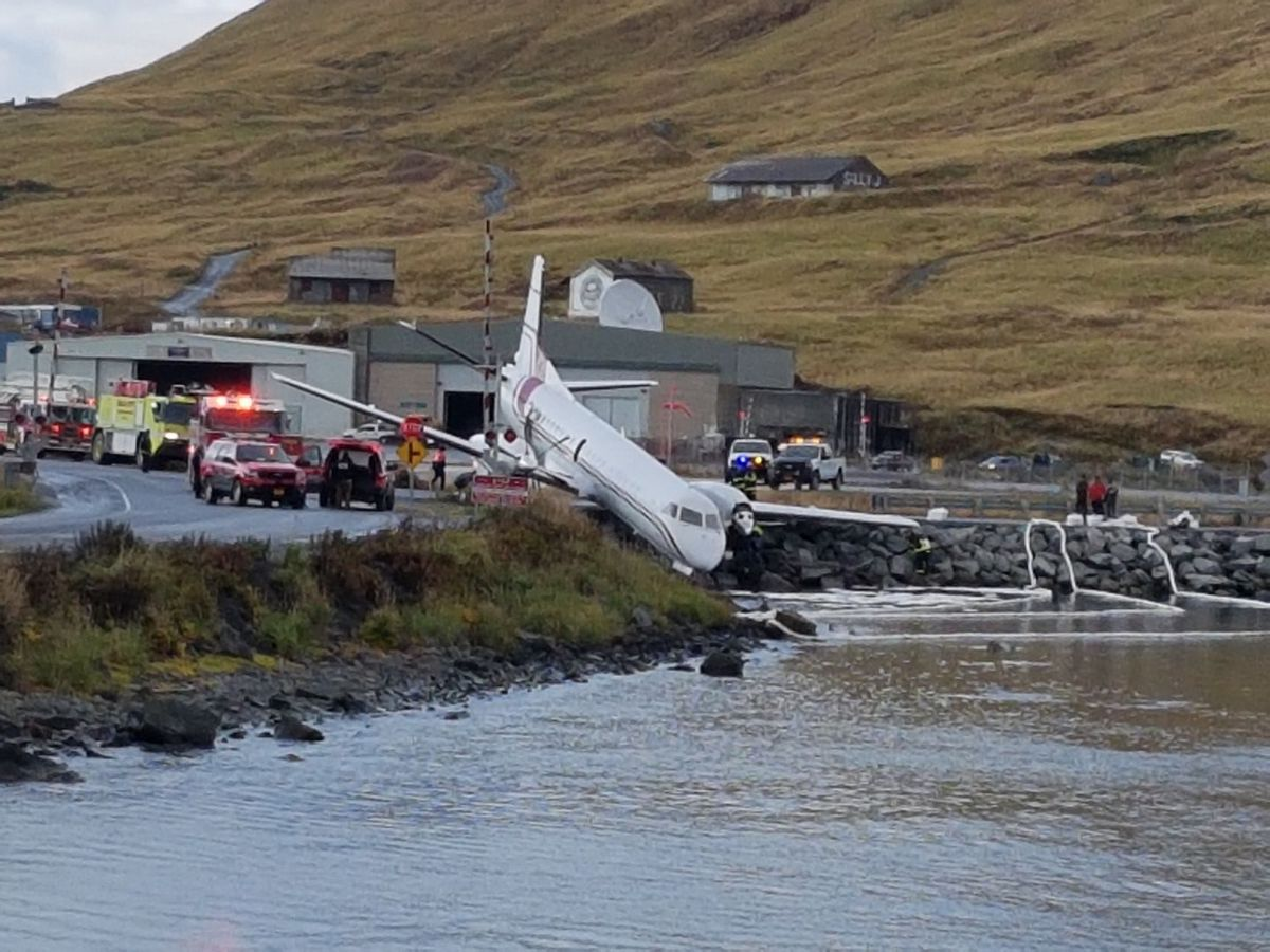 A PenAir plane that flew from Anchorage to Dutch Harbor, pictured off the runway at the Unalaska-Dutch Harbor airport on Thursday, Oct. 17, 2019. (Jennifer Wynn)