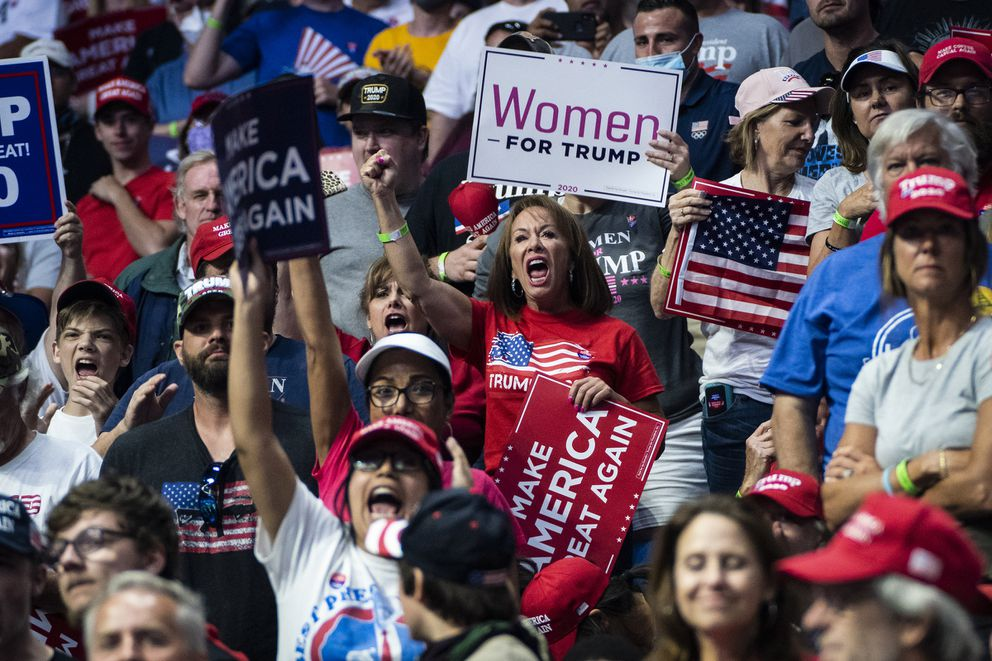 Trump supporters at the president's June rally in Tulsa. (Washington Post photo by Jabin Botsford)