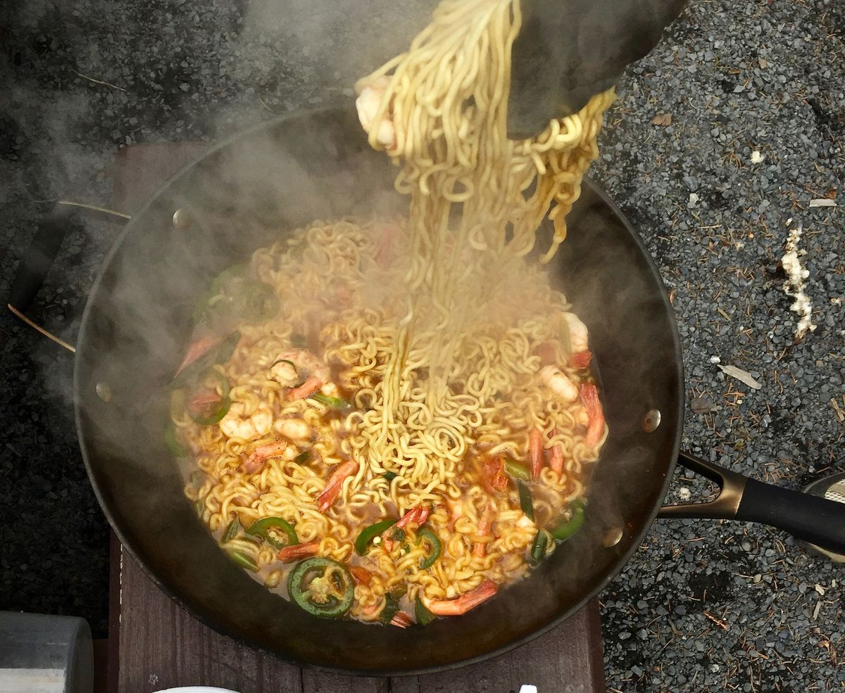 Campfire ramen with fresh, wild shrimp (Photo by Kim Sunée)