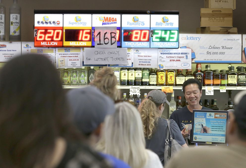 People what in line to purchase lottery tickets for the Meg Millions lottery at Lichines Liquor & Deli on Oct. 23, 2018, in Sacramento, California. (AP Photo/Rich Pedroncelli)
