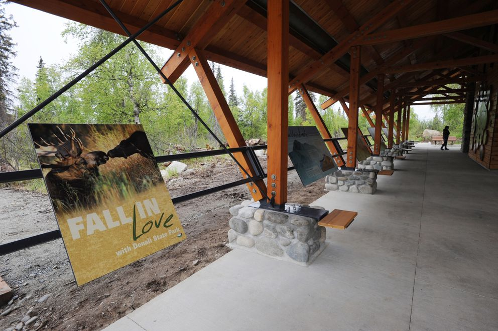 Interpretive pavilion at the new K'esugi Ken Campground in Denali State Park located at mile 135.4 of the Parks Highway on Sunday, May 28, 2017. (Bill Roth / Alaska Dispatch News)​