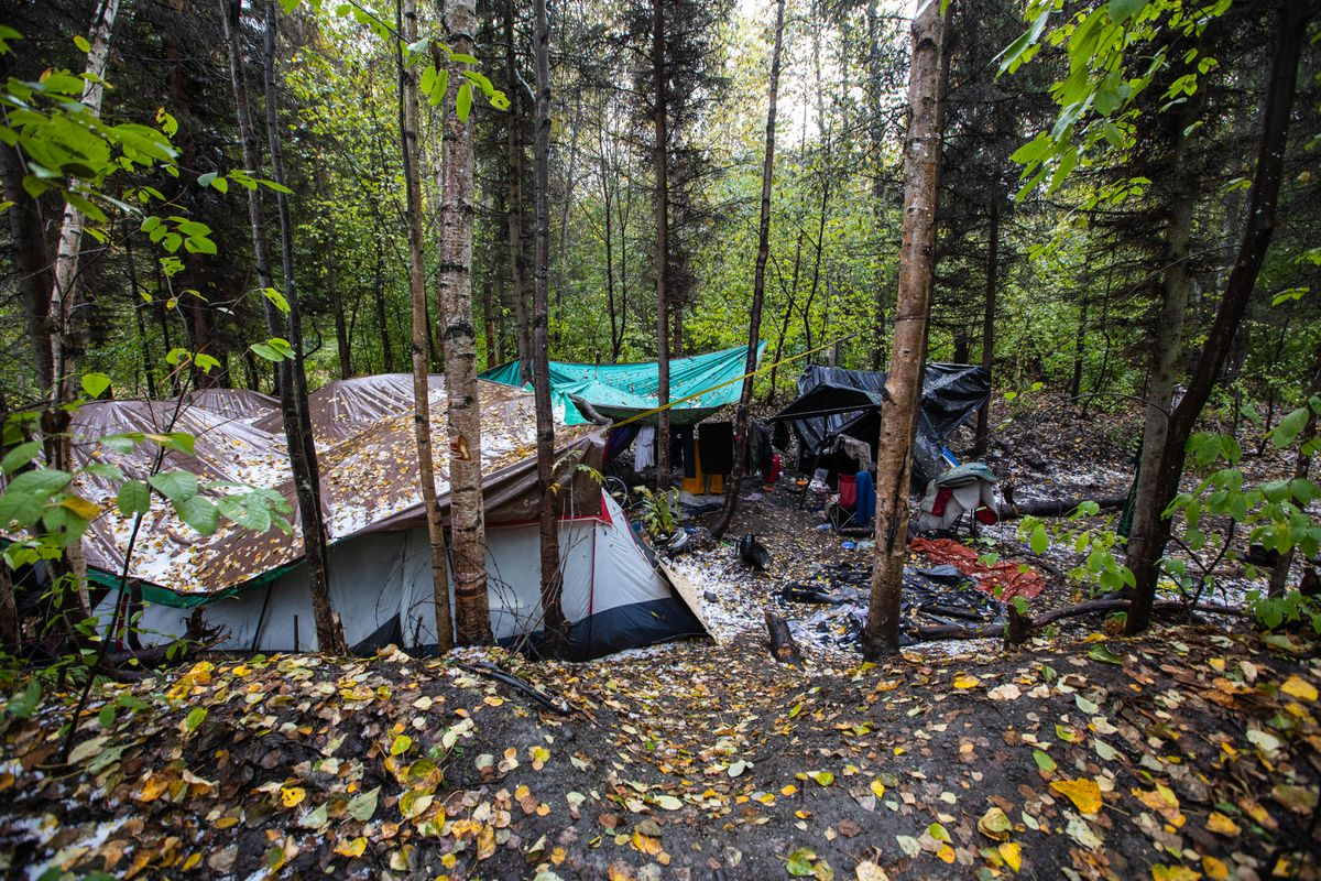 Tents are covered with leaves in a homeless camp along the Chester Creek greenbelt Wednesday, Sept 25, 2019 in Anchorage. (Loren Holmes / ADN)