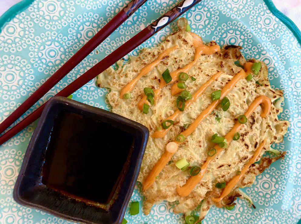 Okonomiyaki, or a Japanese savory pancake, made with Alaska cabbage. (Julia O'Malley/ADN)