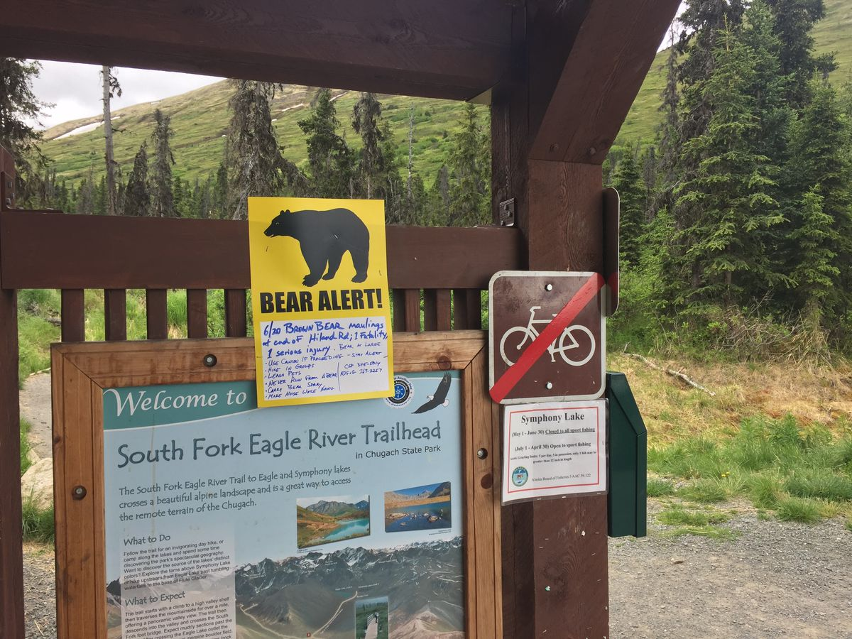 A sign at the South Fork trailhead warns hikers of two bear maulings in the area Wednesday. On Friday, authorities confirmed Michael Soltis, 44, was killed by a bear. (Matt Tunseth/ADN)
