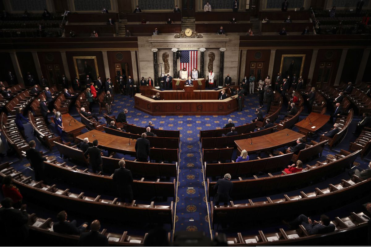 FILE - In this April 28, 2021, file photo President Joe Biden addresses a joint session of Congress in the House Chamber at the U.S. Capitol in Washington. Biden has moved into a new phase of his presidency, having already begun to face a historic series of crises and largely dedicating his first 100 days to steady a nation reeling from the COVID-19 pandemic that has killed nearly 570,000 Americans and devastated its economy. (Chip Somodevilla/Pool via AP, File)