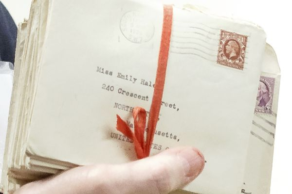 In this Oct. 14, 2019, photo, letters between poet T.S. Eliot and longtime confidante Emily Hale are displayed in Princeton, N.J. Thursday, Jan. 2, 2020 marks the first day that students, researchers and scholars can go to the Ivy League school in New Jersey to see these letters that many are saying may reveal more intimate details about Eliot's life and work. (Shelley Szwast/Princeton University Library via AP)