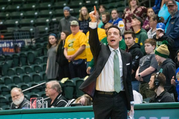 University of Alaska Anchorage women's basketball coach Ryan McCarthy during a game against Western Oregon on Saturday, Feb. 16, 2019 at the Alaska Airlines Center. UAA won 97-52. (Loren Holmes / ADN)