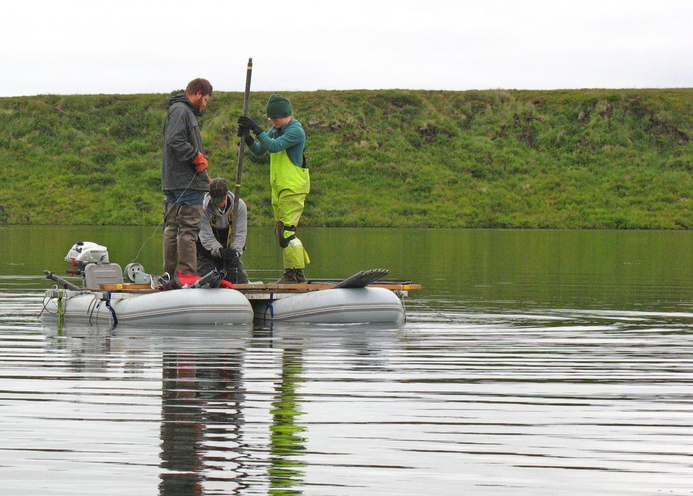 Researchers working with ecologist Nancy Bigelow pull a sediment core from a deep lake in Western Alaska near Shishmaref, looking for pollen preserved from the days of the Bering Land Bridge. (Photo by Nancy Bigelow)