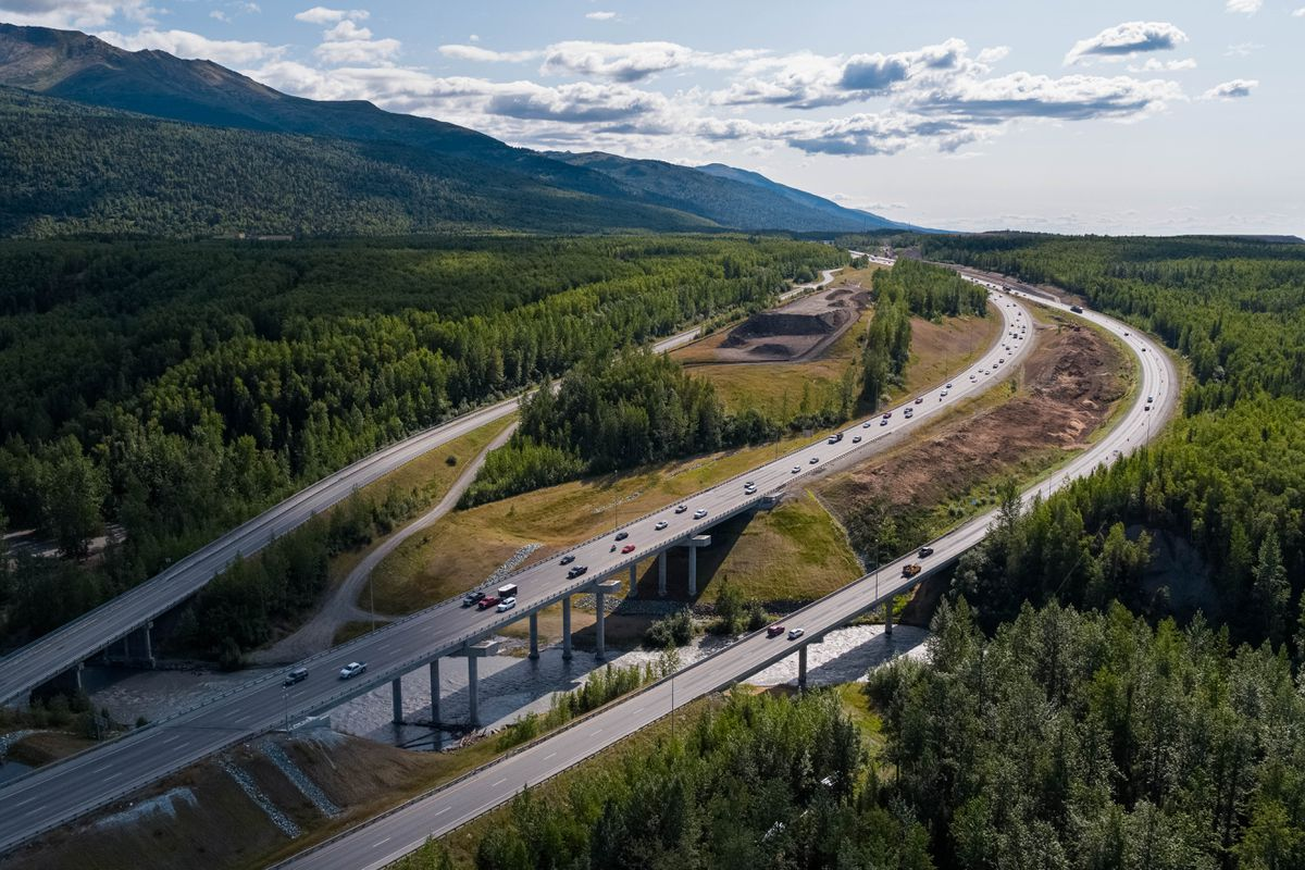 Construction on Phase II of the Glenn Highway Artillery to Hiland project is underway, photographed Wednesday, Aug. 7, 2019. The project will add a new three-lane southbound bridge across Eagle River alongside the northbound bridge completed in 2015, as well as a new southbound frontage road west of the Glenn. (Loren Holmes / ADN)