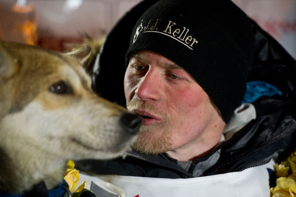 Dallas Seavey arrived in Nome and claimed his fourth Iditarod championship in five years with Marcy 15, 2016. (Marc Lester / Alaska Dispatch News)