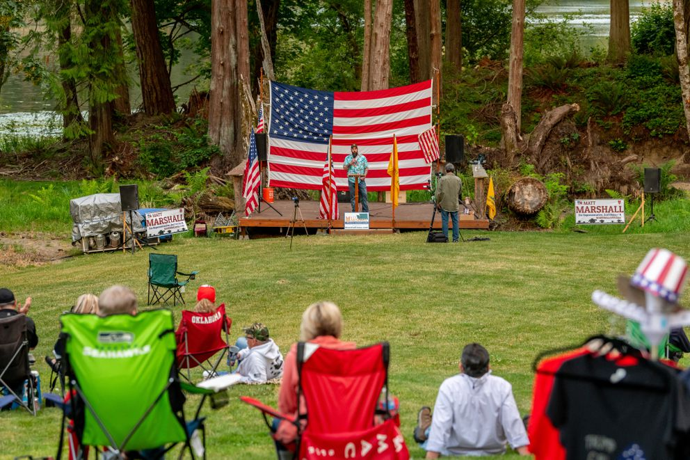 Matt Marshall, a member of the Eatonville school board in Washington state, speaks at a fund raiser and 4th of July BBQ in Eatonville. Photo for The Washington Post by Stuart Isett