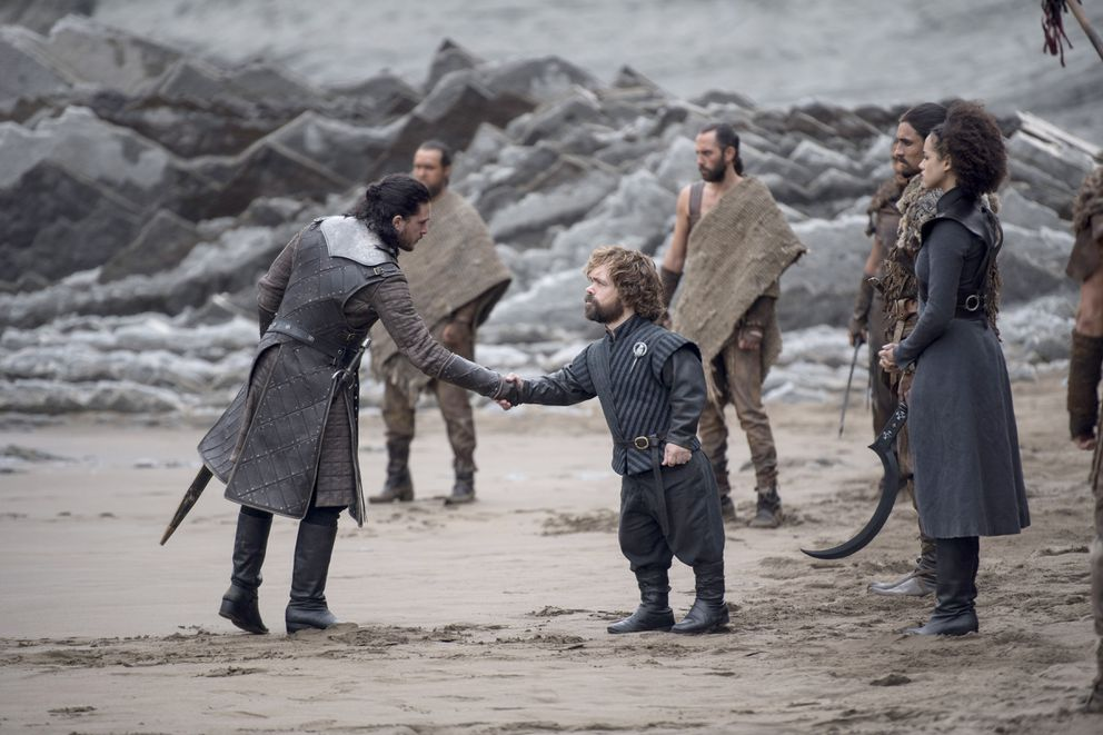 Tyrion Lannister and Jon Snow meet at Dragonstone in the penultimate season of 'Game of Thrones. ' (HBO)