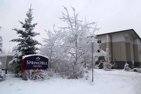 SpringHill Suites are located on University Lake in East Anchorage. Photo taken on Friday, January 13, 2017. (Rugile Kaladyte / Alaska Dispatch News)