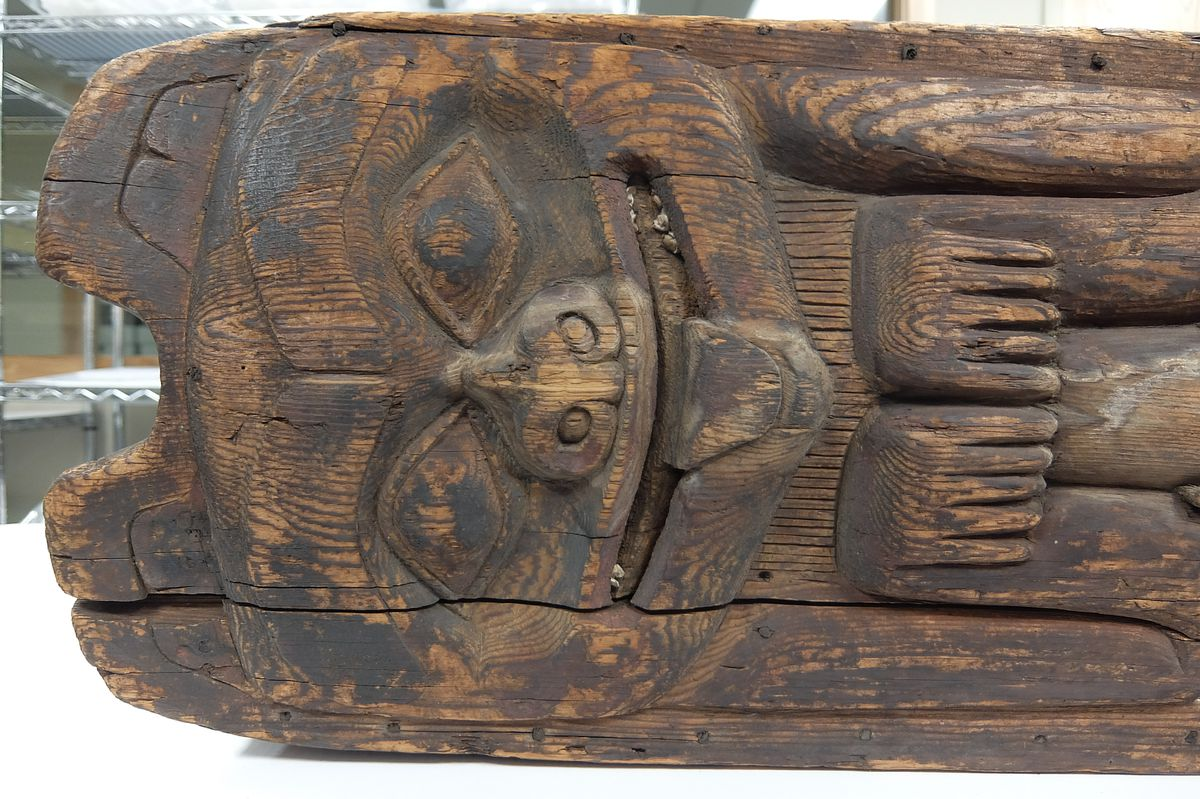 A detail of a Tlingit shaman's box drum is seen above. Sealaska Heritage Institute has secured a grant from Museums Alaska to conserve and make infrared scans to reveal the original design and construction of the box. (Sealaska Heritage Institute)
