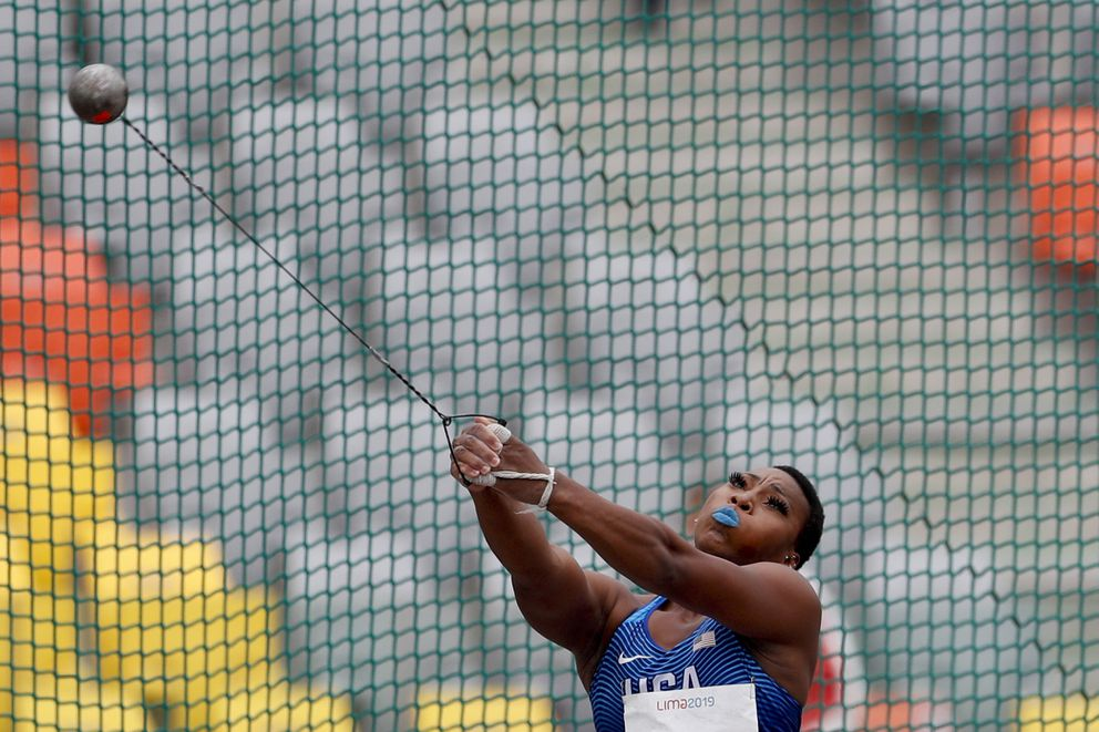 Gwendolyn Berry of United States competes in the women's hammer throw final during the athletics at the Pan American Games in Lima, Peru, Saturday, Aug. 10, 2019. Berry won the gold medal. (AP Photo/Rebecca Blackwell)