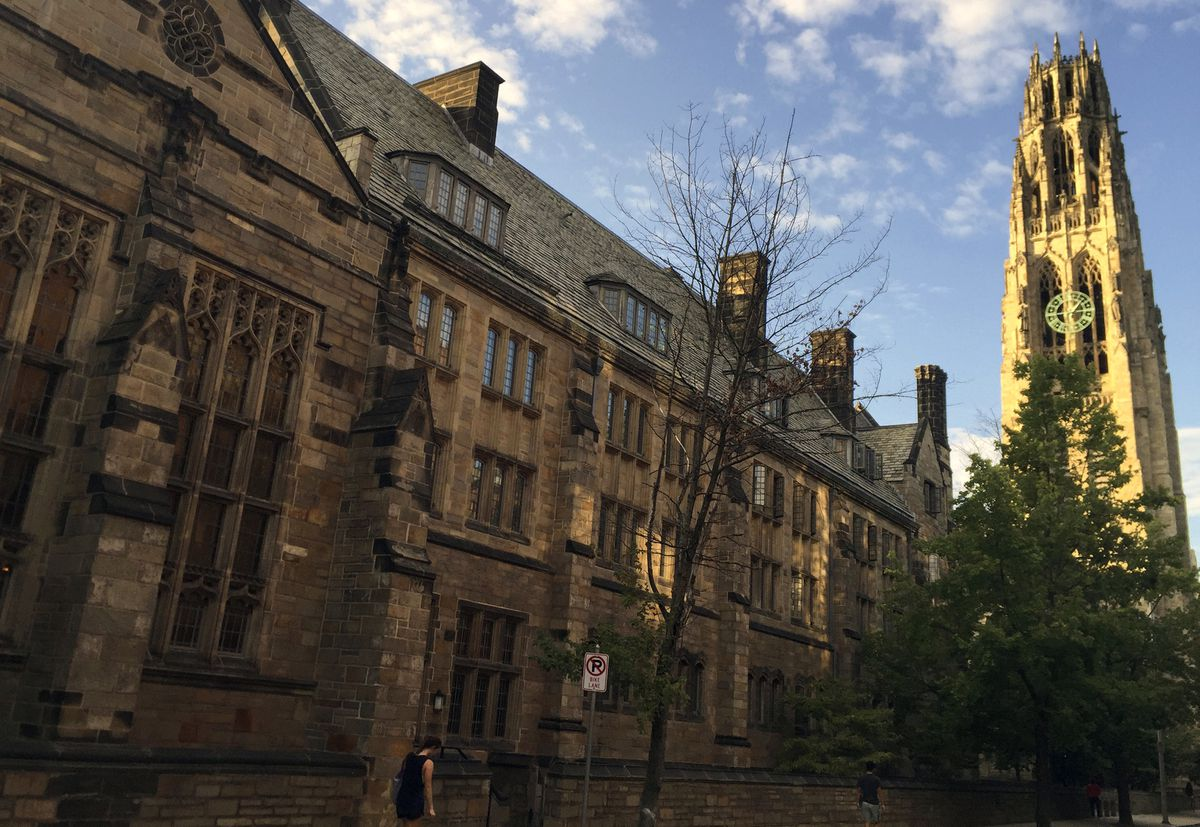This Sept. 9, 2016 photo shows Harkness Tower on the campus of Yale University in New Haven, Conn. (AP Photo/Beth J. Harpaz, File)